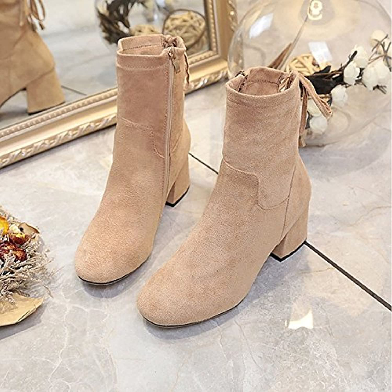 HSXZ Women's shoes PU Winter Comfort Boots Low Heel Round Toe MidCalf Boots for Outdoor Khaki Black