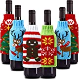 Boao 6 Sets Christmas Wine Bottle Cover Knit Sweater Wine Bottle Dress Santa Reindeer Snowman Wine Bottle Cover for Christmas Decorations Christmas Sweater Party Decorations (Style 4)