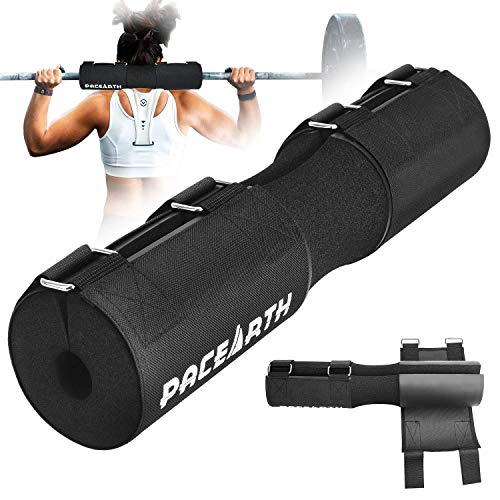 PACEARTH Barbell Pad Squat Pad with Fastening Cloth and Carry Bag, Weight Lifting Bar Cushion Pad for Squats, Lunges, and Hip Thrusts-Fits All Standard and Olympic Bars