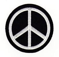 Aufnäher / Patch Motiv Peace Zeichen auf schwarzem Grund 6,8 x 6,8 cm