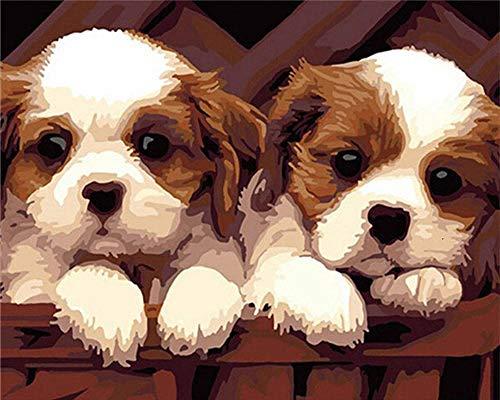 KSKD DIY peinture à l'huile par numéros kits toile peinture à l'huile pour adultes et dessin débutants avec pinceau Chien animal abstrait- 16x20 pouces avec cadre