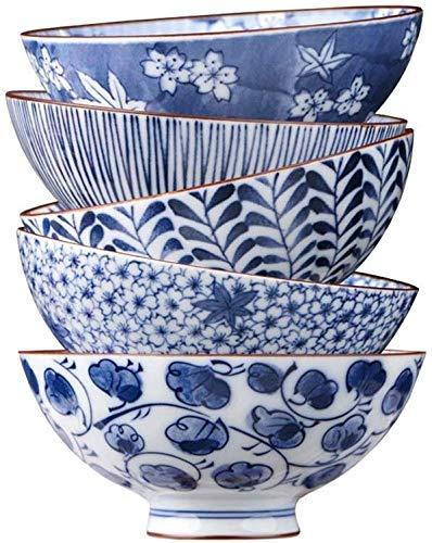 HAILI Servies, Snack Dip Bowls Servies Japanse Keramische Kom, Huishoudelijke 5 Blauw En Wit Porselein Bowl Set Gift Grote Porseleinen Kom Rijstkom Noedel Bowl [4,5 Inch Willekeurige Kleurselectie] voor k