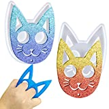 Mity rain 2 Pcs Cat Keychain Resin Molds, Kitty Cat Pendants Silicone Epoxy Casting Mold for DIY Art Craft, Jewelry Making, Handmade Gifts for Women Girls