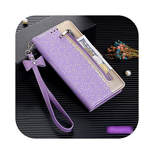 Nuestra Dame - Carcasa para iPhone XR (piel, con tapa, tarjetero), diseño de flores, color morado