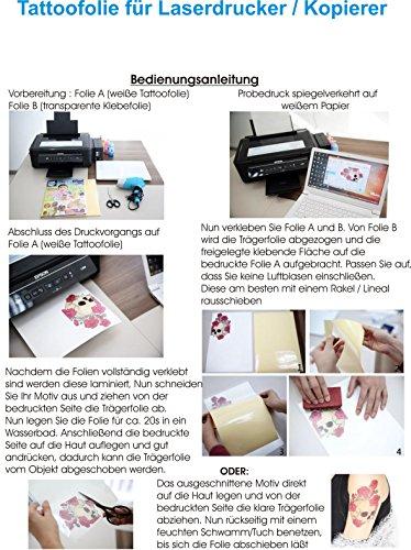 Tattoo-Transferfolien BodyStyle für Laserdrucker Farblaserdruck Laser Kopierer Spezialfolien Tattoofolien