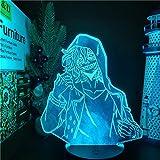 Luz nocturna 3D LED Anime Shigaraki Tomura Lámpara 3D My Hero Academia LED Night Light para niños, decoración de cumpleaños, regalo, Boku no Hero Academia Table lámpara de Navidad, 7 colores táctiles