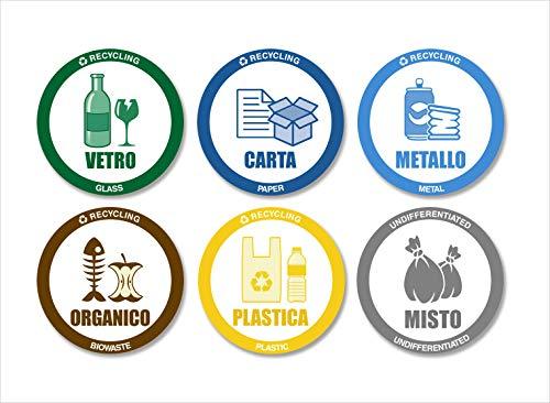 Readyprint Adesivi per Raccolta Differenziata con Illustrazioni, Etichette riciclo rifiuti, 6 pz. Mis. 9 cm, Italiano - Inglese