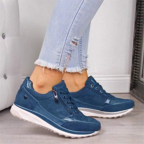 Oceansee Damen-Freizeitschuhe, modische flache Schuhe mit Keilabsatz, Reißverschluss, Schnürsenkel, bequeme Damen-Sneaker, vulkanisierte Schuhe, Blau, 35