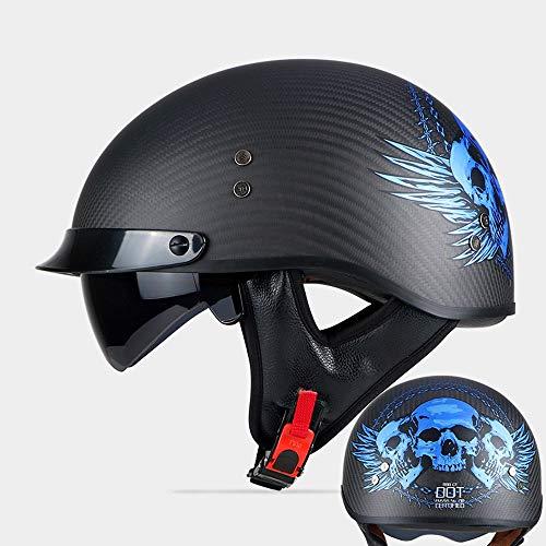 ZXASDC Motorradhelm Halbschale Halbschalenhelm, Motorradhelm Stahlhelm Jet-Helm Brain-Cap Roller-Helm Open Face Halbes Leder-Helm Schnellverschluss Totenkopf, M-XXL