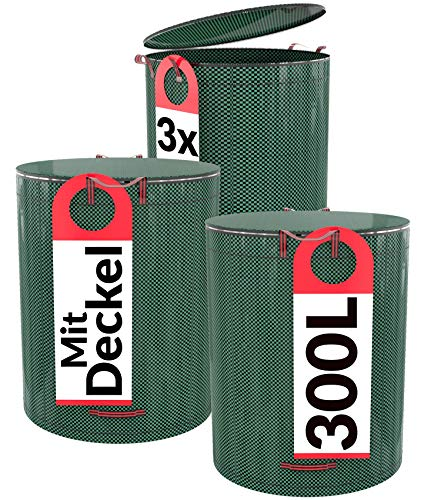 Praknu 3er Gartensack mit Deckel Verschließbar - 300L - 4 Reißfeste Griffe - Robustes Polypropylen