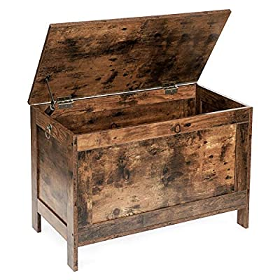 HOOBRO Storage Chest, Retro Toy Box Organizer with Safety Hinge, Sturdy Entryway Storage Bench, Wood Look Accent Furniture, Easy Assembly, Rustic Brown BF75CW01 by HOOBRO