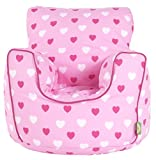 Cotton Pink Hearts Girls Bean Bag Arm Chair with Beans