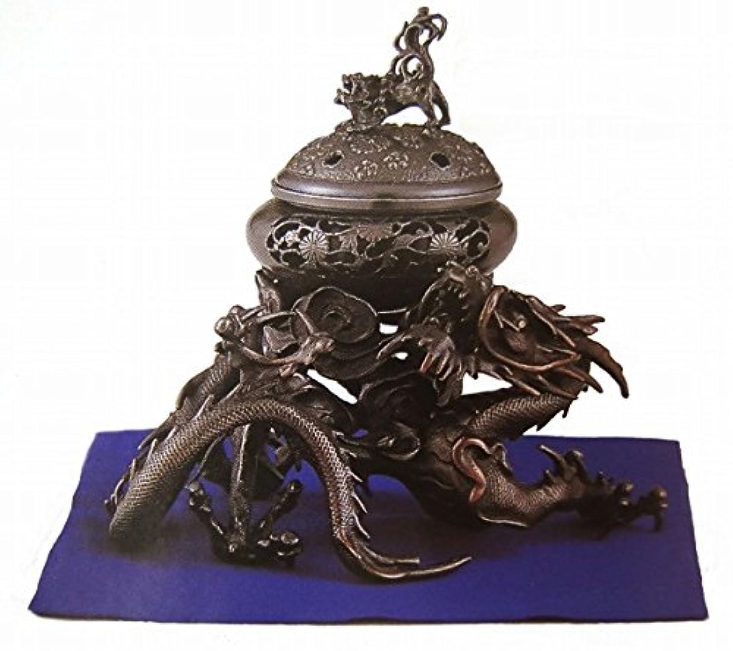 資本後ろに小道『吉祥龍香炉』銅製