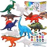 BOLZRA Kids Crafts and Arts Set Dinosaur Figures Painting Kit, 10Pcs DIY Paintable Plastic Dinosaur Figurines, Paint Your Own Dinosaur Toys Creativity Activity Set for Boys Girls