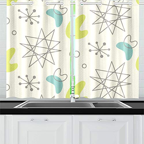 VNASKL Mid Century Modern 1950 S Kitchen Curtains Window Curtain Tiers for Cafe Bath Laundry Living Room Bedroom 26x39inch 2pieces