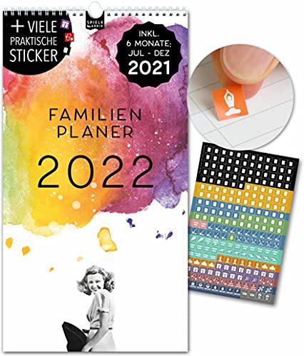 Spielefabrik Familienkalender 2022 Kalender 2022 Wandkalender 2022 in 23x43cm Familienplaner 2022 mit 5 Spalten inkl. Familienplaner 2021 von Juli 21 - Dez 22 Mit Stickern, Tasche, Ferien VINTAGE