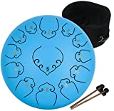 amkoskr 12 pollici 30 cm tamburo in acciaio c major 13 note steel tongue drum strumento a percussione tamburo handpan con bacchette per tamburi borsa per il trasporto(lago blu)