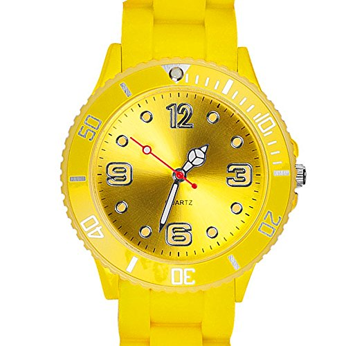 Taffstyle Farbige Sportuhr Armbanduhr Silikon Sport Watch Damen Herren Kinder Analog Quarz Uhr 39mm Gelb