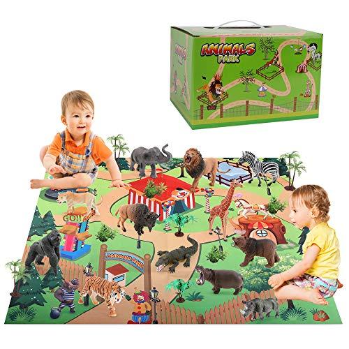 Figuras de animales con alfombra de juego