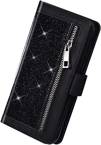 Herbests Kompatibel mit Samsung Galaxy S20 Ultra Handyhülle Handytasche mit 9 Kartenfächer Handschlaufe Leder Hülle Reißverschluss Magnet Luxus Bling Glänzend Multifunktions Flip Case,Schwarz