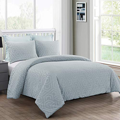 Donna Sharp King Bedding Set - 3 Piece - Seville Soft Blue Contemporary Comforter Set with King Comforter and Two King Shams - Machine Washable