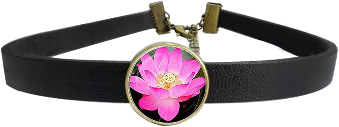 Womens Gothic Leather Choker Collar Flower Lover Punk Necklace with Glass Pendant Adjustable