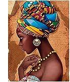 Pintar por Numeros fantasía africana niña mujer DIY Cuadro al óleo con números para Kit de Pintura al óleo Digital para Adultos y niños de Lienzo decoración para el hogar 40x50cm Sin Marco