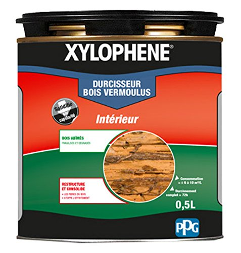 XYLOPHÈNE - Durcisseur Bois Vermoulus - Anti Insectes - Traite les Bois Vermoulus - Incolore - 0,5L