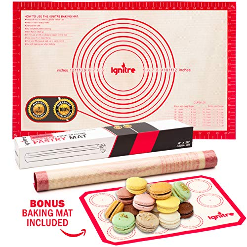 """Extra Large Silicone Pastry Mat and Baking Sheet - Non Stick Thick Non-slip Reusable Mats with Measurements 