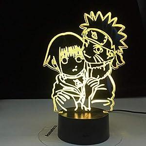 3D Children Illusion Night Light,Uzumaki Naruto and Hinata Hyuga Colorful Nightlight for Dorm Study Room Decor USB LED Night Lamp Manga Girls Night Light Gift