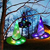 3 Pieces Halloween LED Lighted Witch Hats Hanging Decoration Hat Set, Glowing Witch Hats Halloween Party Lighting Hats Button Battery Powered for Tree Yard Garden