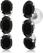 Gem Stone King 2.34 Ct Oval Black Onyx 14K White Gold Earrings