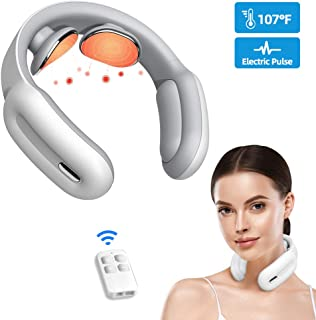 Neck Massage,Neck Massager Cordless with Heat Smart Portable Electric Neck Massager 3 Modes & 15 Intensity Shiatsu Relax Massage for Women & Men White