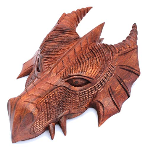 Windalf Pagan Schutzdrache FAFNIR 22 cm Drachen Wanddeko Wandrelief Vintage Holzkunst Holzdeko Handarbeit aus Holz