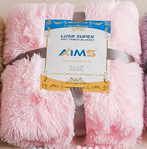 Lush Superweiche Decke Kunstfell Zotteldecke mit Kristall-Fleece auf der Rückseite, kuschelig, flauschig, lang, flauschig, für Sofa, Couch & Bett, Dekor, doppelschichtig, Rosa