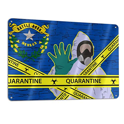 Quarantine and Social Distancing Stop Coronavirus Aluminum Metal Sign 12x8 Inch