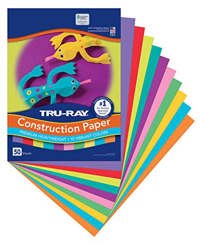 "Pacon Tru-Ray Construction Paper, 9"" x 12"", 50-Count, Bright Assorted (102940)"