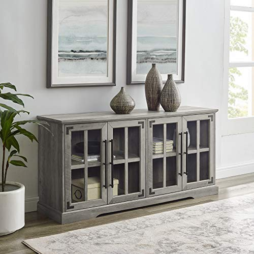 """Walker Edison Farmhouse Barn Glass Wood Universal Stand for TV's up to 64"""" Flat Screen Living Room Storage Cabinet Doors and Shelves Entertainment Center, 58 Inch, Grey -  AZ58ABG4DGW"""