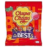 Chupa Chups The Best of, Lecca Lecca Gusti Assortiti Fragola, Arancia, Cola, Panna Fragola, Senza Glutine, con Colori Naturali, Busta da 10 Lollipop Monopezzo
