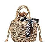 LoFee カゴバッグ 在庫セール 手編み レディースハンドバッグ 鞄 トートバッグ リボン付き おしゃれ ストローバッグ ビーチバッグ 天然素材をやさしく編み上げたやわらかバッグ
