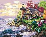ZXDA Cuadro por números, casa de la Ciudad Junto al mar,, Pintura artística, Pintura por números, Paisaje, Kit de Pintura a Mano, Lienzo A3 50x65cm
