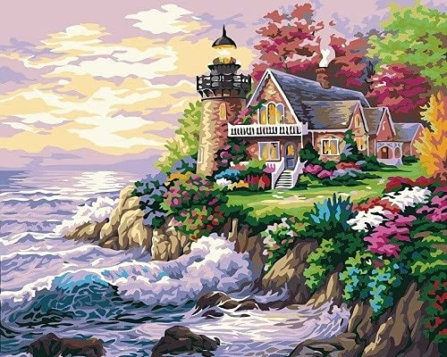 ZXDA Picture By Numbers Seaside City House Pittura Art Painting By Numbers Paesaggio Hand Pain Kit Canvas A3 45x60cm