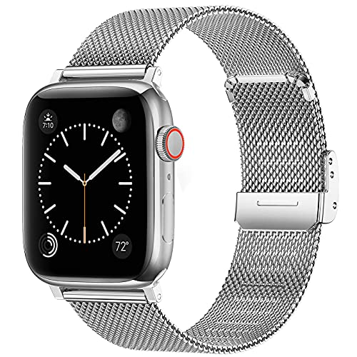 Bandas compatibles con Apple Watch Band 38 mm 40 mm 42 mm 44 mm para mujeres y hombres, correa de malla de acero inoxidable correa ajustable de repuesto para iWatch Series 6/5/4/3/2/1/SE