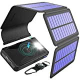 BLAVOR Solar Charger Five Panels Detachable, Qi Wireless Charger 20000mAh Portable Power Bank with Dual Output Type C Input...