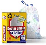 13 gallon Kitchen Trash Bags Garbage Bag Trash Can Liners for Dumpster Bin 150 Count – Strong White Drawstring Odor Shield Bags for Refuse Disposal