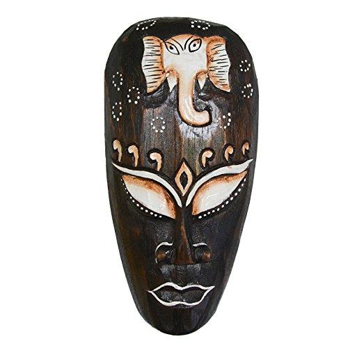 Kunsthandwerk Asien Máscara decorativa de elefante (madera, 20 cm, hecha a mano), color marrón