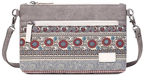 ArcEnCiel Small Crossbody Bag Canvas Cell Phone Purse Wallet with Shoulder Strap Handbag for Women Girls (Gray)