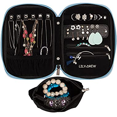 Lily & Drew Travel Jewelry Storage Carrying Case Jewelry Organizer Removable Pouch (V1 Light Blue)