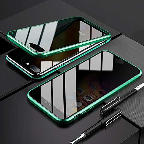 EUDTH Cover iPhone 7 Plus/iPhone 8 Plus, Custodia Protezione Struttura in Metallo Magnetico Flip Case + Caso Protettive in Vetro Temperato Privacy Protettiva Cover per iPhone 7 Plus/8 Plus (Verde)