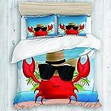 Marutuki Bedding Juego de Funda de Edredón,Genial crustáceo con Gafas de Sol Negras y un Sombrero de Vacaciones de Verano en la Isla Tropical,Microfibra SIN Relleno,(Cama 140x200 + Almohada)